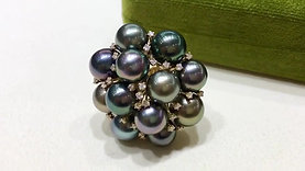 8-9 mm Multicolor Tahitian Pearl Ring 18k Gold - AAAA