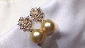 12-13mm Golden South Sea Pearl Earrings, 18k Gold w/ Diamond - AAAA