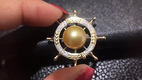 12-13mm Golden South Sea Pearl Lucky Rudder Pendant, 18k Gold w/ Diamond - AAAA