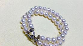 Famous Style! AAAA 7.5-8 mm Akoya Pearl Bracelet 18k Gold w/ Diamond