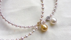 45cm, AAAA 14-15 mm South Sea Pearl Collar Pendant 18k Gold w/ Diamond