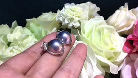 14-15 mm Mabe Pearl Earrings 18k Gold w/ Diamond - AAAA
