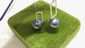 12-13 mm Tahitian Pearl Earrings, 18k Gold - AAAA