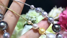 45cm AAA 4-12 mm Tahitian or South Sea Pearl Tin Cup Necklace 18k Gold