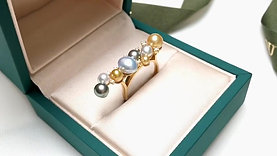 3-7 mm Wild South Sea Pearl Ring 18k Gold w/ Diamond- AAAA