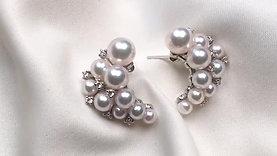 PMS | 4-6mm Akoya Pearl Earrings 18k Gold w/ Diamond