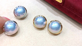AAAA Aurora 13-14 mm Mabe Pearl Earrings 18k Gold