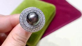 1.75ct Diamond, AAAA 10-11 mm Tahitian Pearl Ring Pendant PT Gold