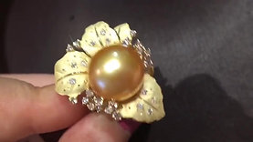 CUSTOMIZE |13-14mm Golden South Sea Pearl Royal Ring, 18k Gold w/ Diamond - AAAA