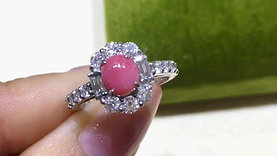 1.44ct Conch Pearl Ring 18k Gold w/ Diamond
