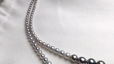 40cm, AAAA 3-11mm Tahitian Pearl and Akoya Pearl Gradient Ombre Necklace