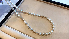 51+5cm, AAAA 7.5-8 mm Akoya Pearl Strand Necklace 18k Gold