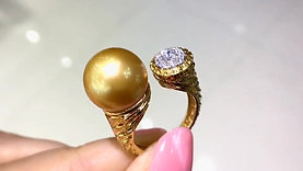 12-13 mm Golden South Sea Pearl Adjustable Ring, 18k Gold w/ Diamond - AAAA