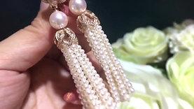 Famous Tassel Style! AAAA 8.5-9mm Akoya Pearl Clip-on Earrings 18k Gold w/ Diamd