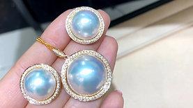 0.53ct Diamond Aurora 14-15 mm Mabe Pearl Earrings 18k Gold