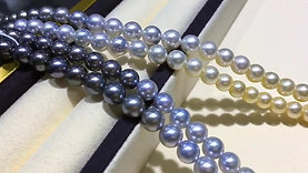 63cm Long Necklace, AAAA 7.5-8 mm Multiple Pearls Gradient Ombre Strand