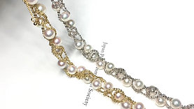 AAAA 5-6mm Baby Akoya Pearl Adjustable Bracelet 18k Gold