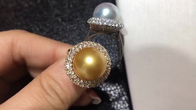 12-13mm Golden or White South Sea Pearl Ring Pendant, 18k Gold w/ Diamond - AAAA