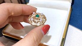 0.50ct Emerald AAAA 3-3.5 mm Akoya Pearl Pendant Brooch 18k Gold w/ Diamond