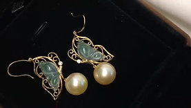 11-12mm South Sea Pearl & Burmese Spicy Green Jadeite A Earrings 18k Gold