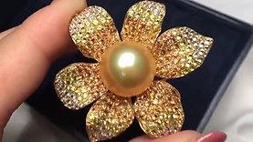 15.5mm Golden South Sea Pearl Pendant Brooch, 18k Gold w/ Dia - AAAA