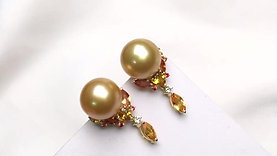 AAAA 10-11mm Golden South Sea Pearl Earrings, 18k Gold w/ Diamond - AAAA