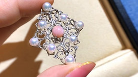 AAAA 1.71ct Conch Pearl Brooch Pendant 18k Gold w/ Diamond