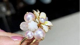 ORIGINAL MIKIMOTO | 4-8 mm Akoya Pearl Enamel Ring 18k Gold w/ Diamond