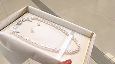 45cm, Hanadama|花珠 8-8.5mm Akoya Pearl Classic Necklace & Earrings Set w/ Certifi