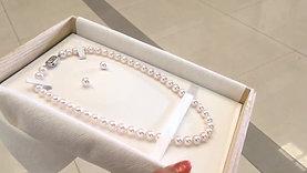 45cm, Hanadama|花珠 8-8.5mm Akoya Pearl Classic Necklace & Earrings Set w/ Certifi