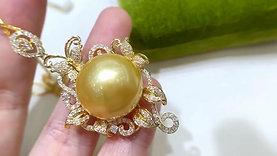 JUMBO! 18.1 mm Golden South Sea Pearl Royal Pendant 18k Gold w/ Diamond - AAAA
