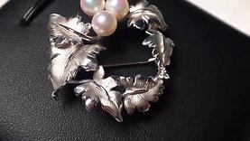 AAAA 6-7 mm Akoya Pearl Pendant Brooch 18k White Gold w/ Diamond