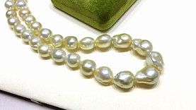 45cm 10-14 mm Baroque Golden South Sea Pearl Strand Necklace
