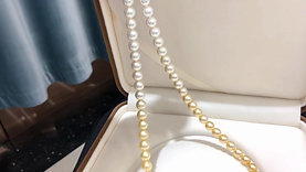 60cm, AAAA 8-8.5 mm Multiple Pearls Gradient Ombre Necklace