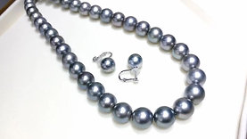 45cm 9-11 mm 黑蝶真珠|Tahitian Pearl Necklace Earrings Set w/ Japanese Certificate