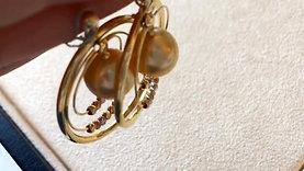 18k Rose, White & Yellow Gold, AAAA 11-12 mm South Sea Pearl Earrings