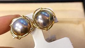 AAAA 14-15 mm Mabe Pearl Earrings 18k Gold