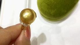 13-13.5 mm Pinctada Maxima|白蝶 Pearl Classic Ring 18k Gold w/ Diamond - AAAA