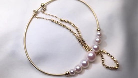 AAA 3-8mm Akoya Pearl Double Chain Bracelet 18k Gold