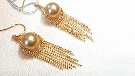 10-11 mm South Sea or Tahitian Pearl Tassel Earrings 18k Gold - AAAA