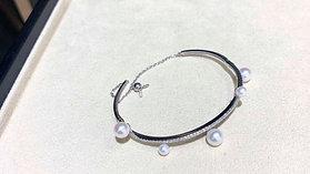 0.52ct Diamond, AAAA 4-8 mm Akoya Pearl Bracelet, 18k White Gold