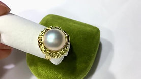 18-19mm Mabe Pearl Ring 18k Gold - AAAA