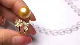 10-11 mm Golden South Sea Pearl Adjustable Ring, 18k Gold w/ Diamond - AAAA