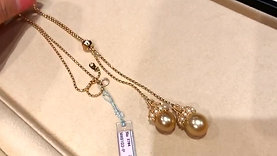 58cm, AAA 12mm & 13mm South Sea Pearl Lariat Necklace, 18k Gold