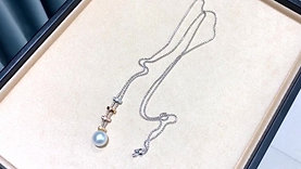 85 cm Length, AAAA 12-13 mm South Sea Pearl Lariat Necklace, 18k Gold w/