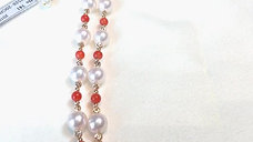 48cm, AAAA 7-7.5 mm Akoya Pearl Strand Necklace 18k Gold w/ Sardinia Coral