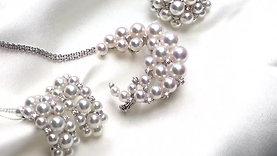 PMS | 3-5mm Baby Akoya Pearl Earrings 18k Gold Diamond