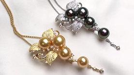 3.73ct Diamond, AAAA 10-13mm Tahitian or South Sea Pearl Pendant Brooch 18k Gold
