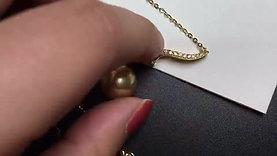12-13mm Golden South Sea Pearl Pendant|Wear Two Ways - AAAA