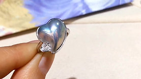 Heart Aurora Mabe Pearl Fashion Ring, 18k Gold w/ Diamond